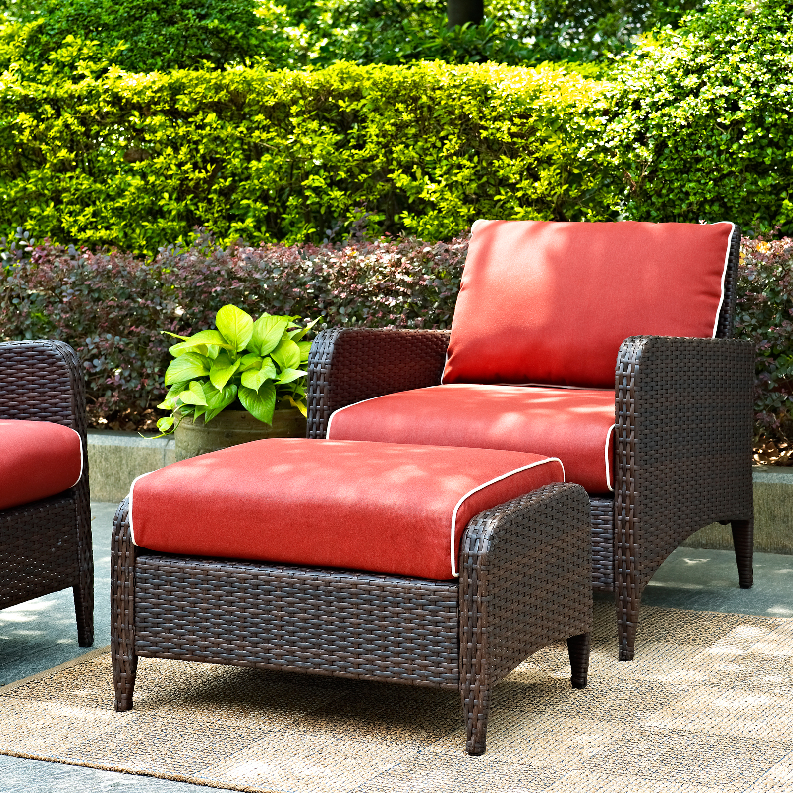 outdoor chair and ottoman office cushion crosley kiawah wicker club with