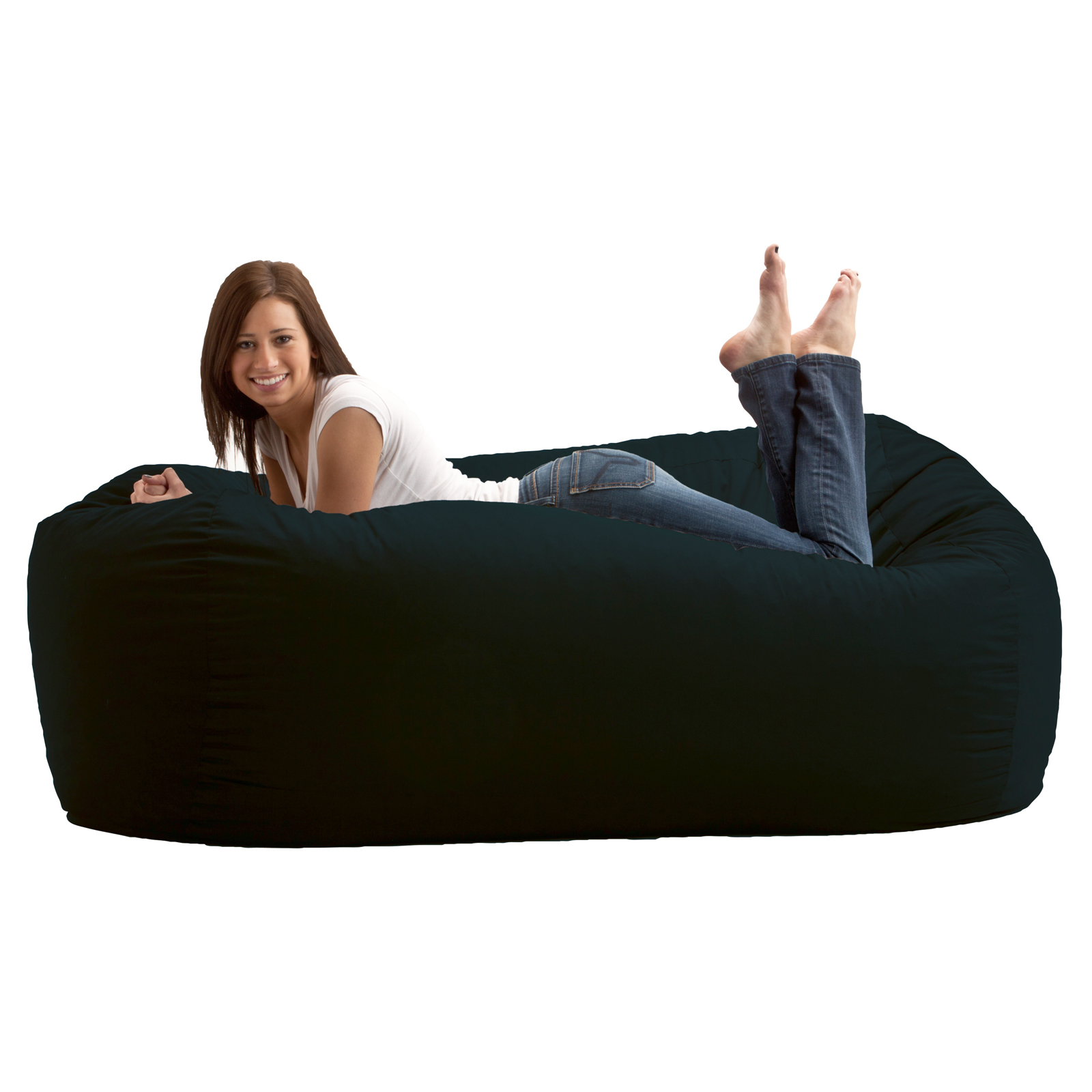 Fuf Chair Fuf 6 Ft Comfort Twill Bean Bag Media Lounger Black