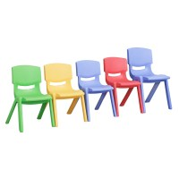 ECR4KIDS Plastic Stackable Chair-Set of 6 Chairs ...