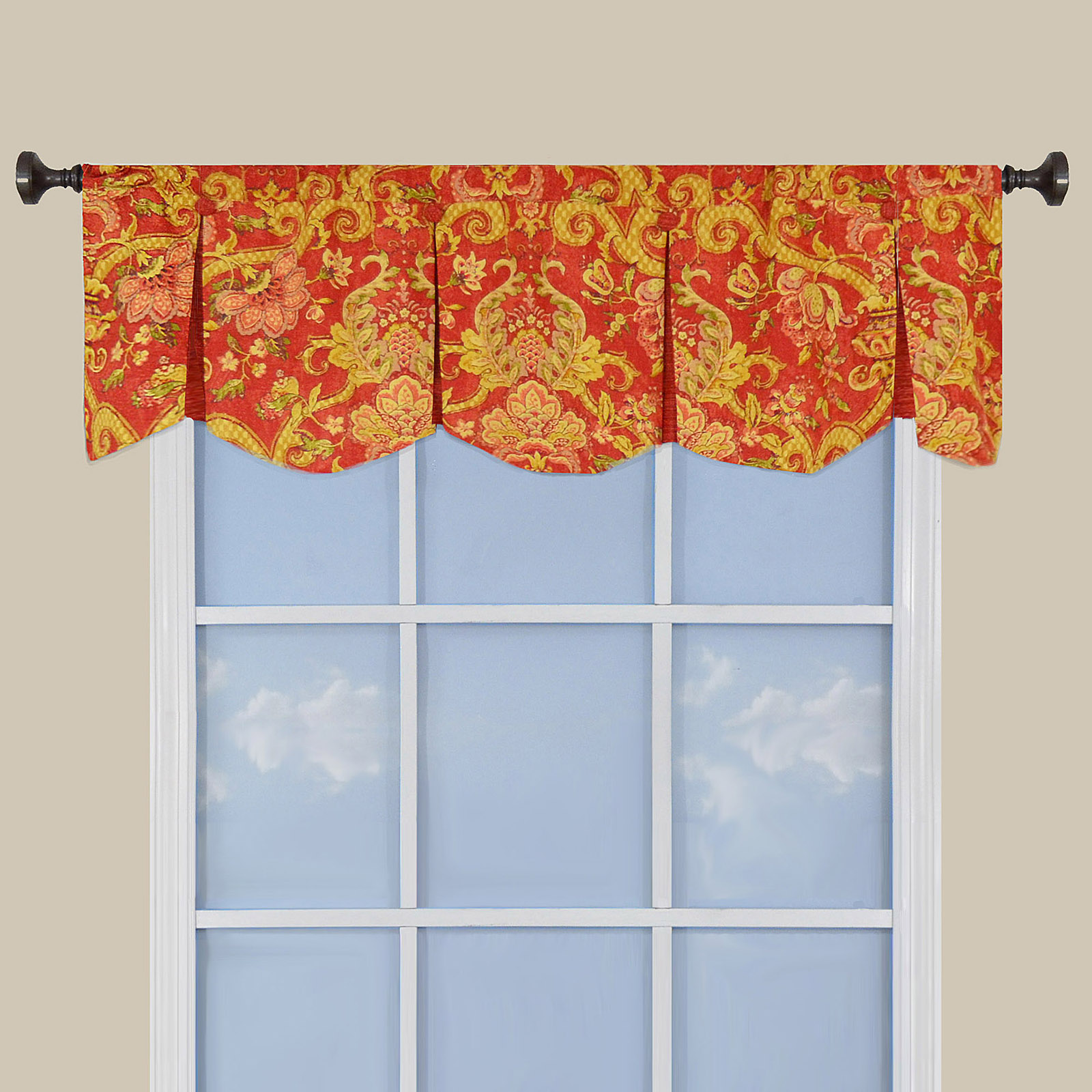 Waverly Archival Urn Inverted Pleated Window Valance At