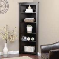 Redford Black Corner Bookcase at Hayneedle
