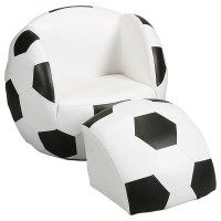 Childs Upholstered Soccer Ball Chair with Ottoman - Kids ...