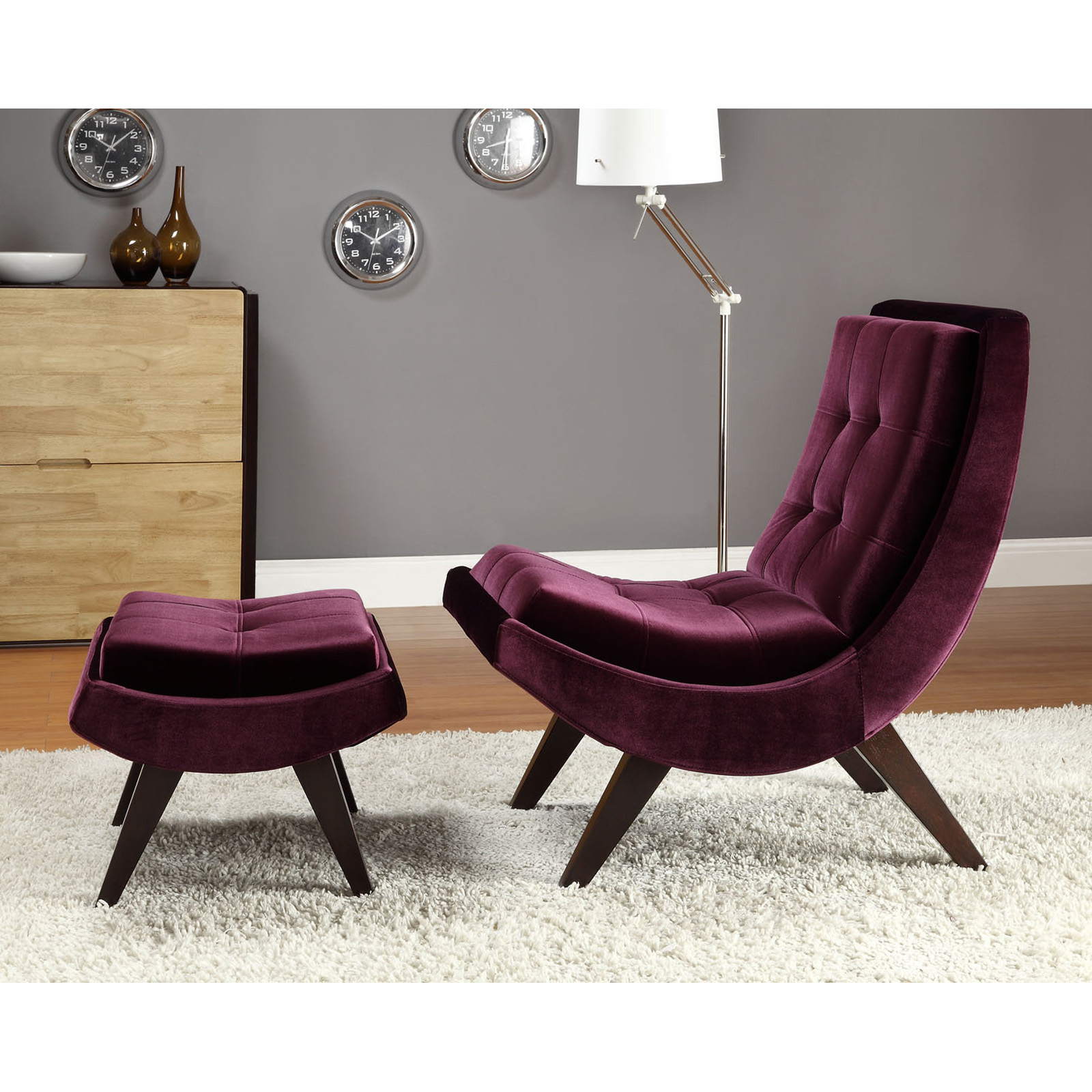 Cool Lounge Chairs Lashay Velvet Lounge Chair And Ottoman Purple Accent