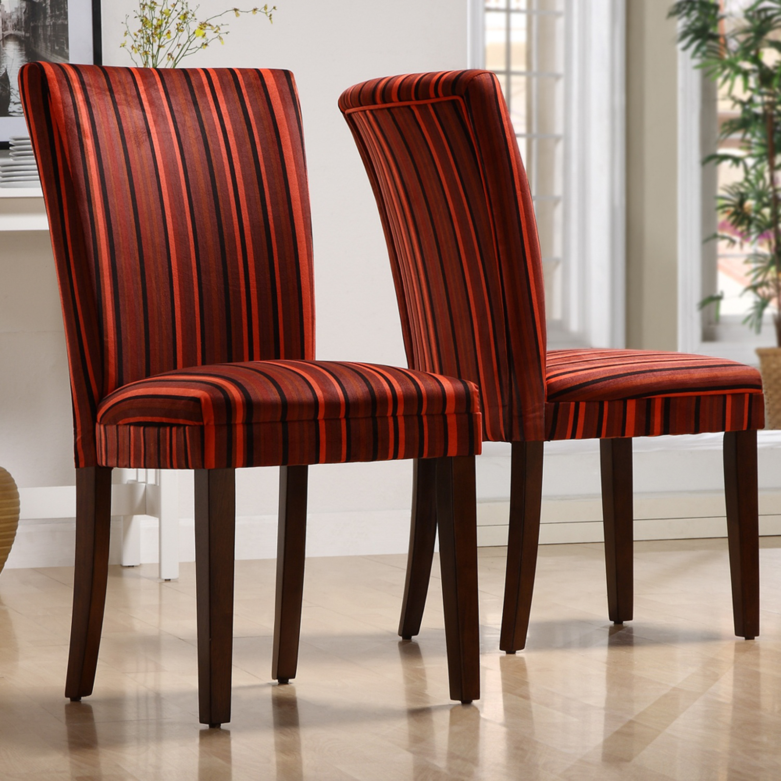 Dining Chair Fabric Homelegance Royal Red Striped Design Fabric Parson Chairs