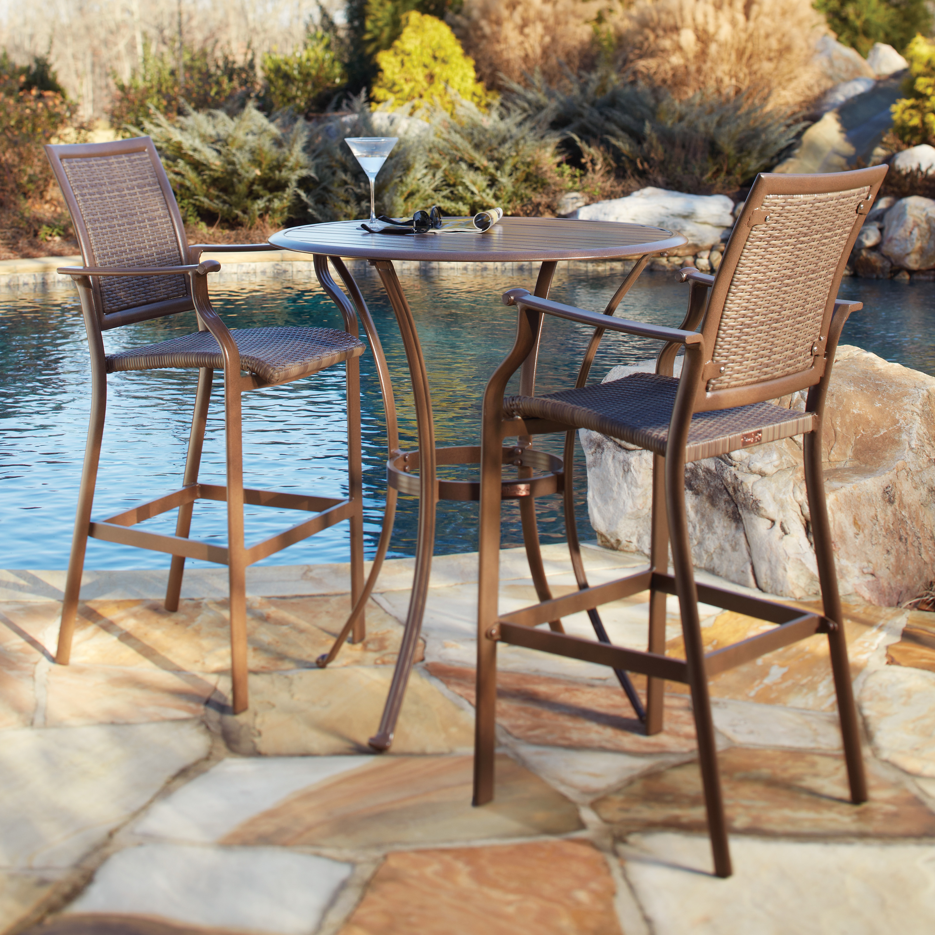 Panama Jack Island Cove Woven Slatted Bar Height Patio Pub Table Set  Patio Dining Sets at