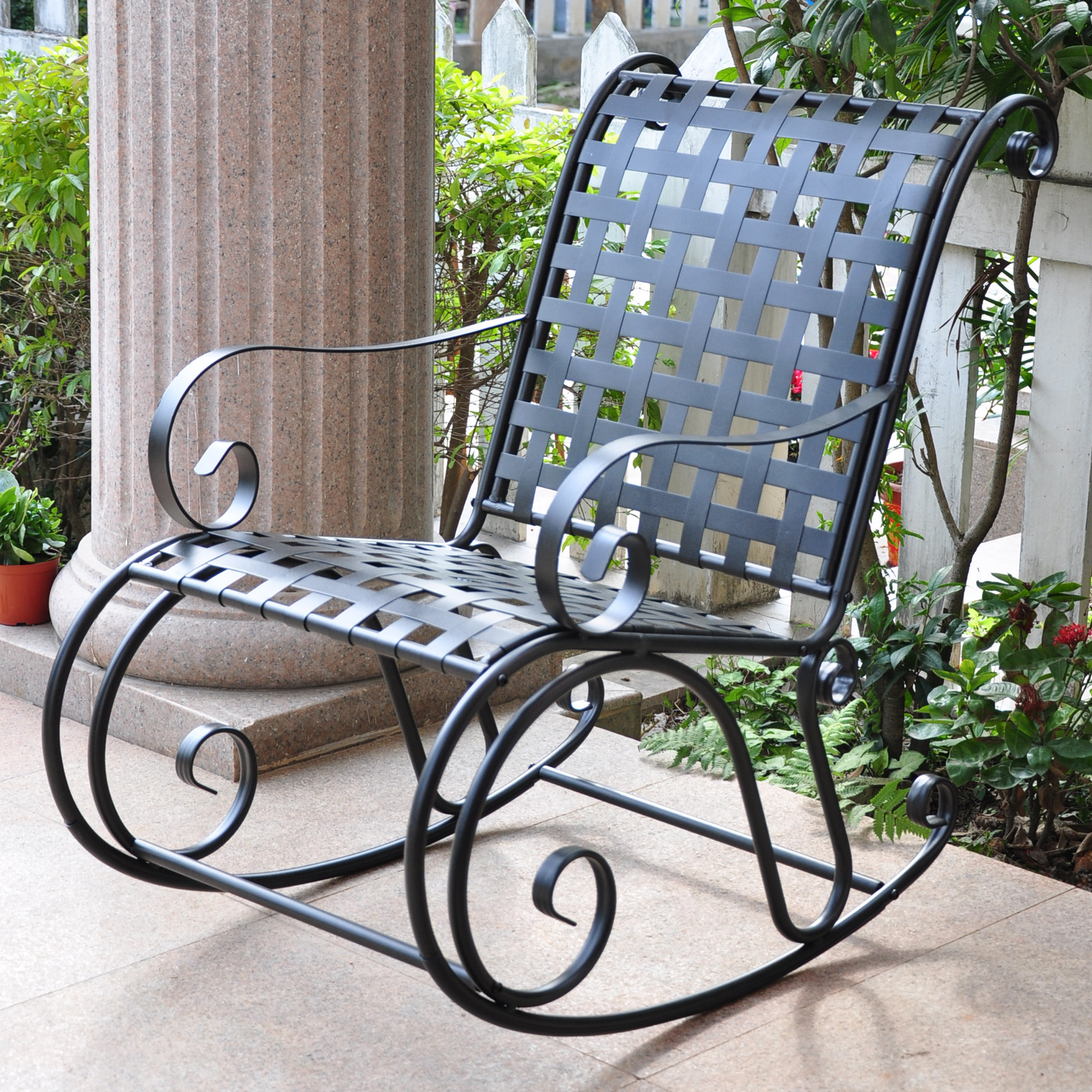 wrought iron rocking chair revolving cushion international caravan scroll outdoor rocker