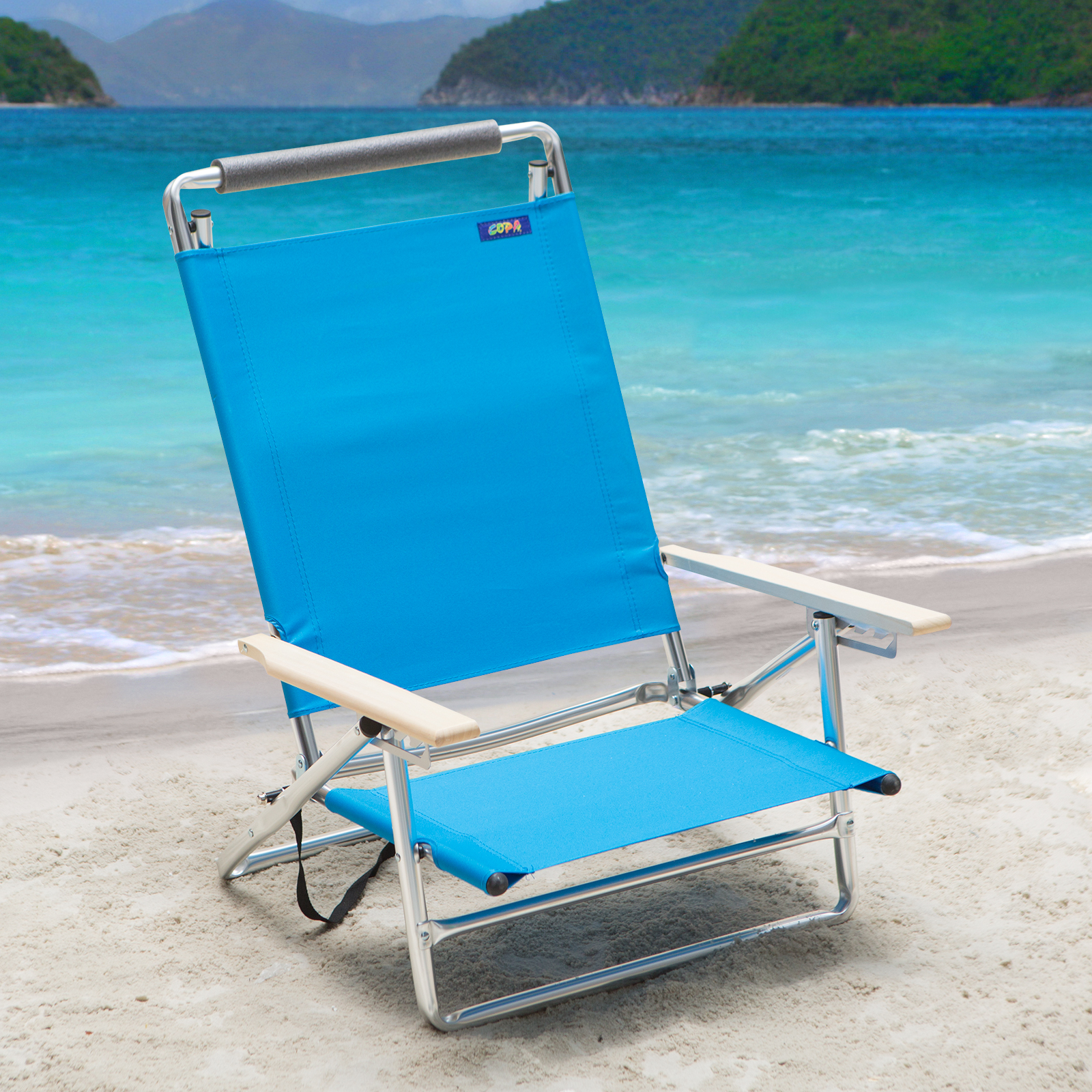 lay down chair outside ergonomic leather copa 5 position flat aluminum beach azure