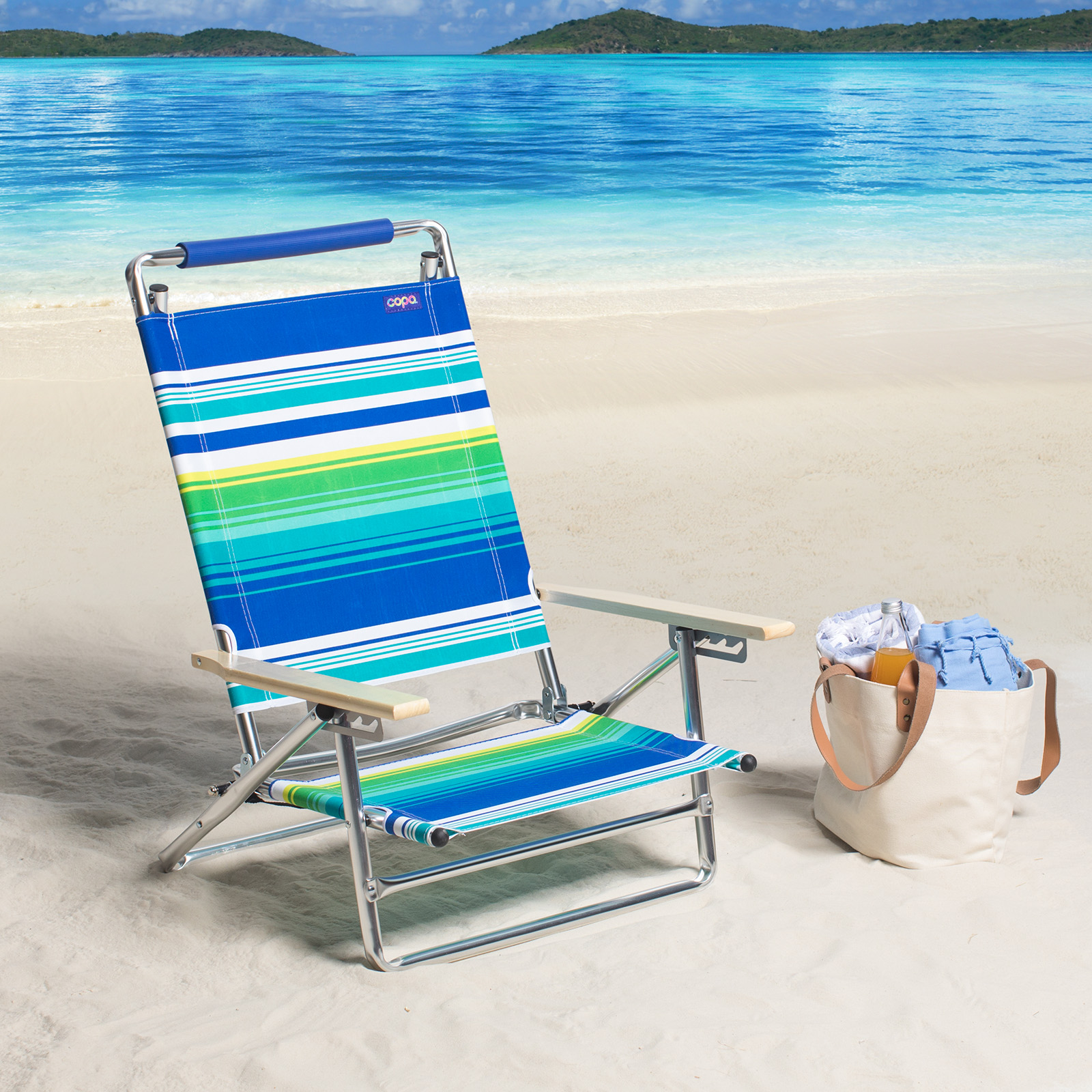 Beach Lounger Chair Copa 5 Position Lay Flat Aluminum Beach Chair Striped At