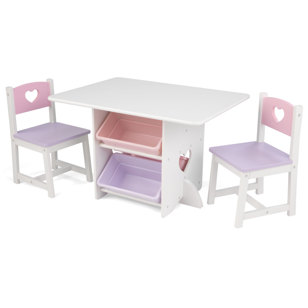 Kidkraft Heart Table And Chair Set Kidkraft Heart Table Set With Pastel Bins 26913