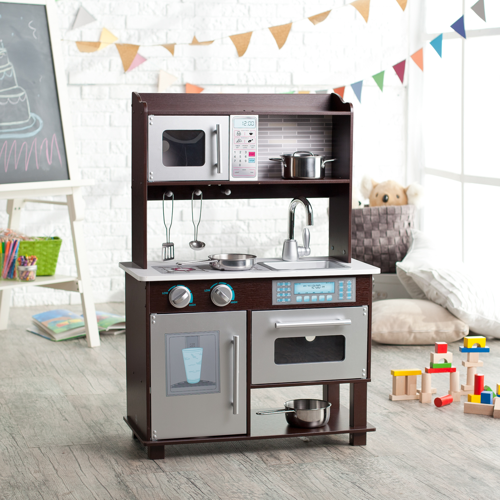 KidKraft Espresso Toddler Play Kitchen with Metal Accessory Set  53281  Play Kitchens at Hayneedle