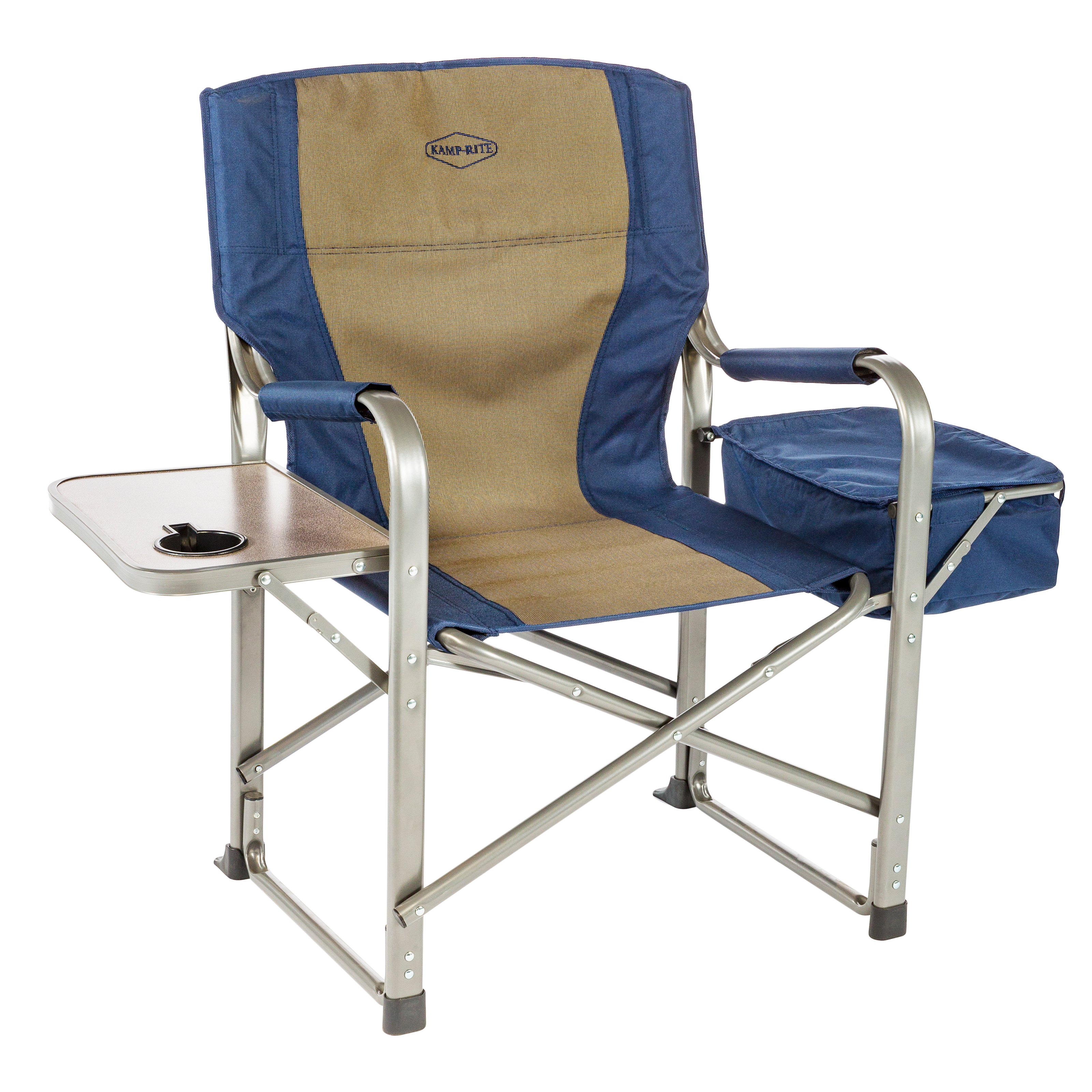 folding chair with cooler swing in stand kamp rite directors side table and built