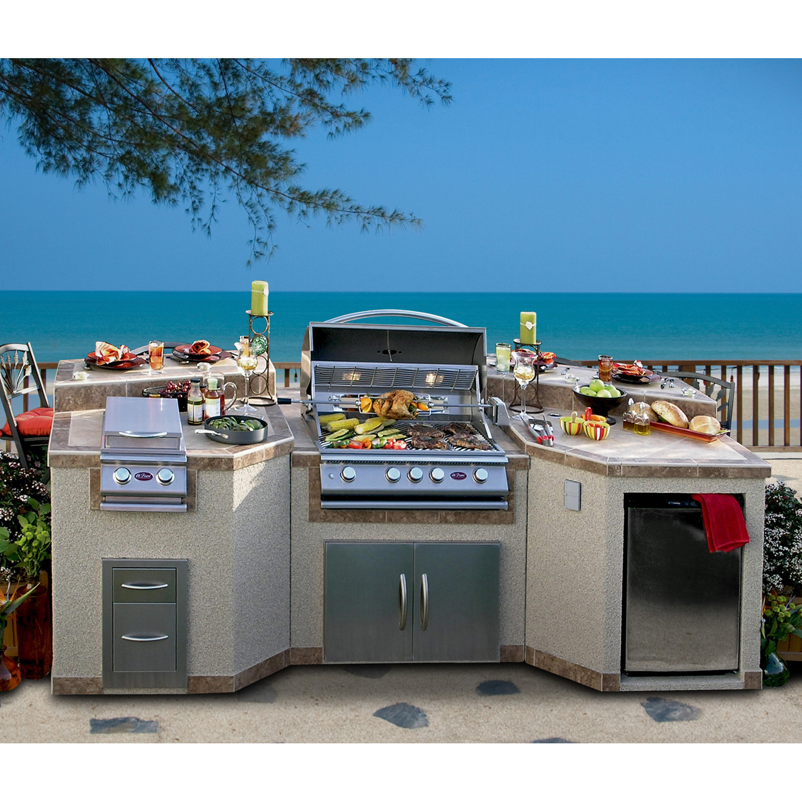 drop in grills for outdoor kitchens kitchen cabinets stock cal flame 3 piece island with 4 burner natural gas bbq ...