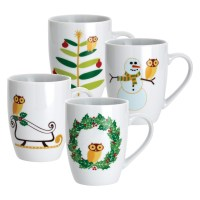 Rachael Ray Dinnerware Holiday Hoot Collection Mugs 4pc