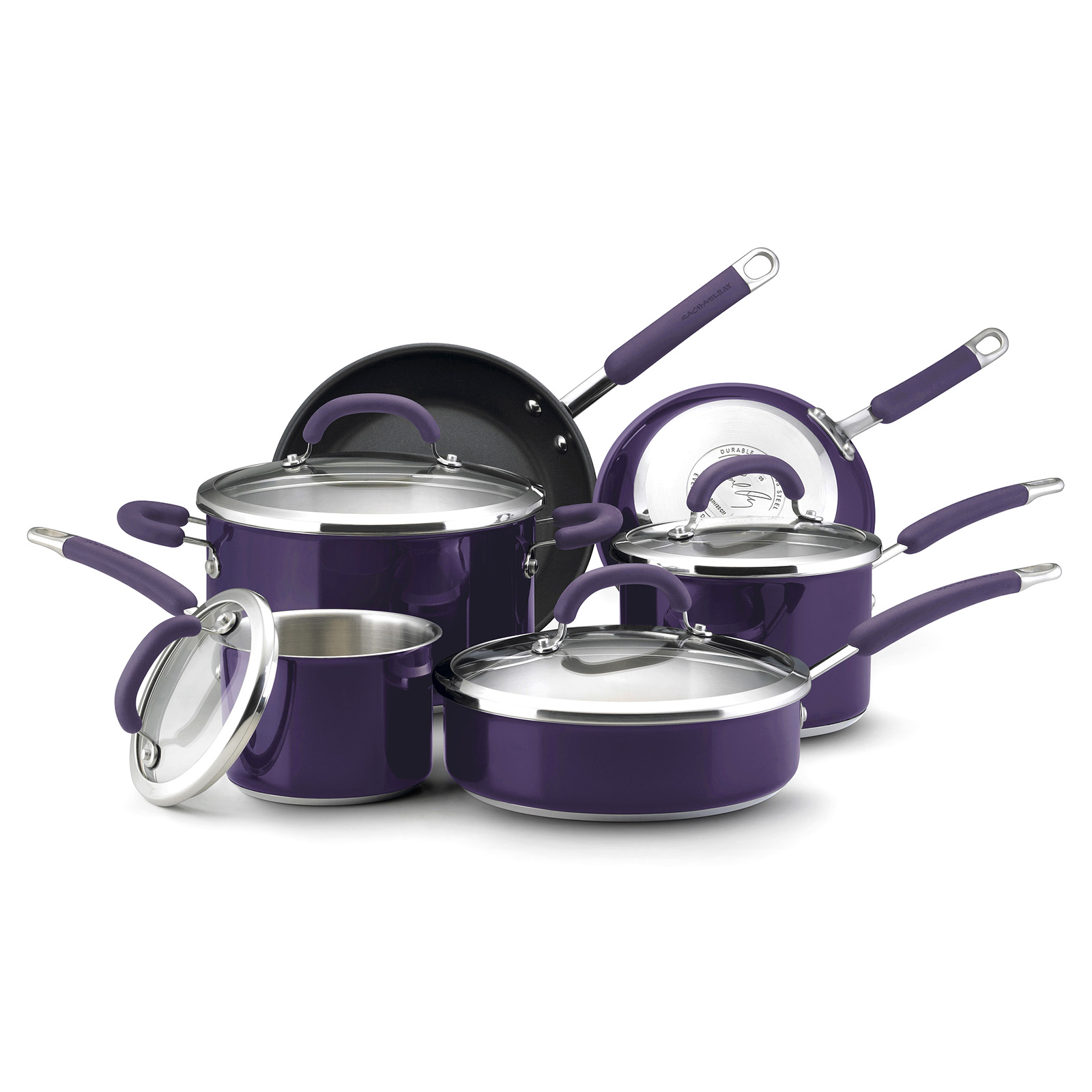 kitchen cookware sets faucet touchless rachael ray stainless steel 10 pc set eggplant