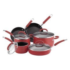 Kitchen Cookware Sets Mobile Home Faucets Rachael Ray Porcelain Enamel 10 Piece Set Red