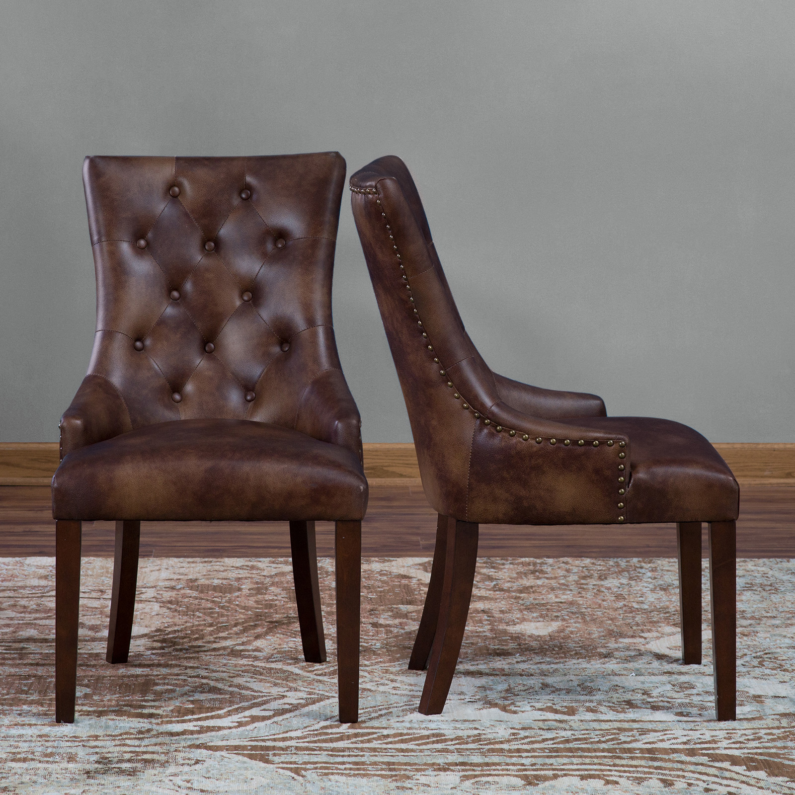 leather dining room chairs race seat office chair base belham living thomas tufted set of