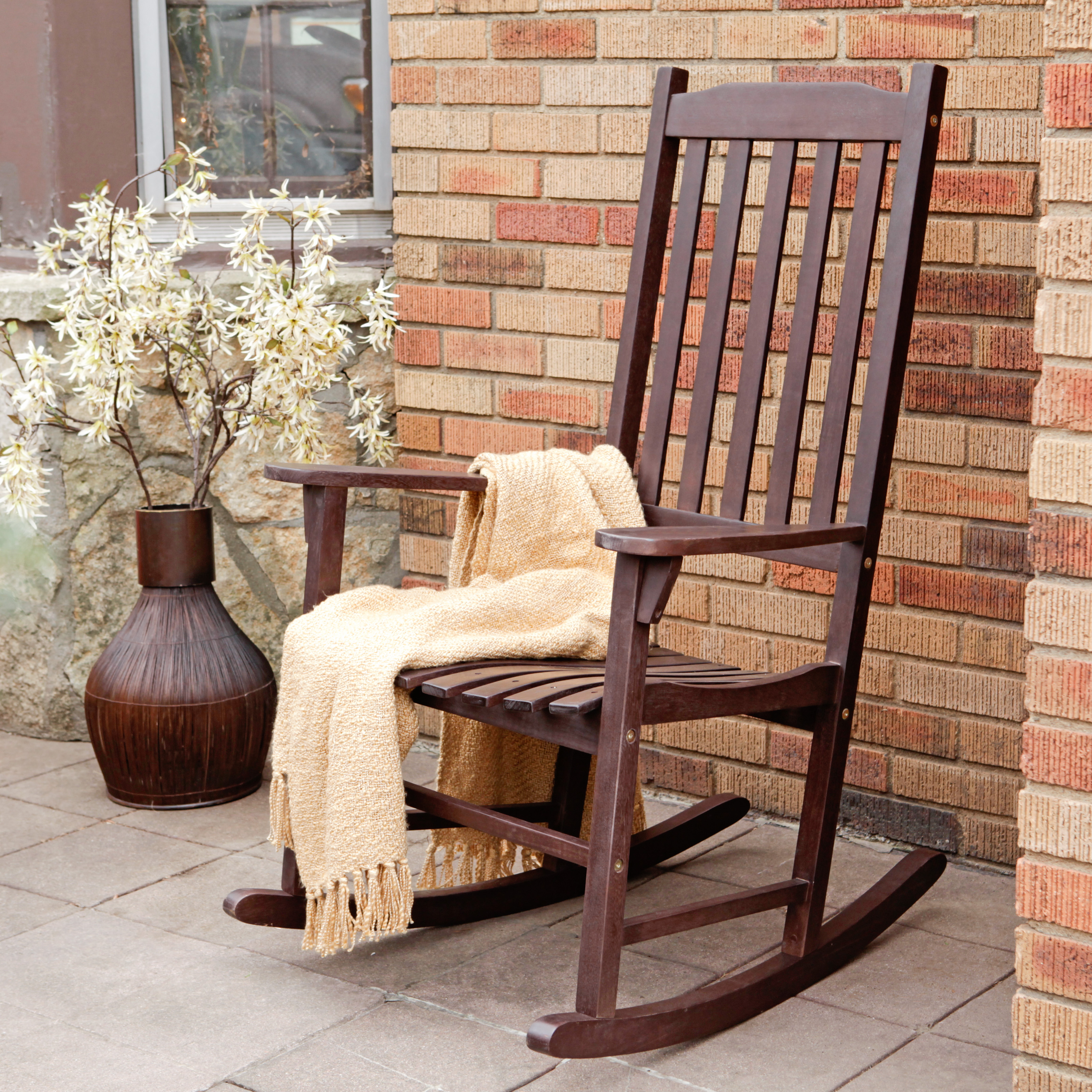 Rocky Chair Coral Coast Indoor Outdoor Mission Slat Rocking Chair