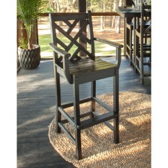 Tall Patio Chairs With Arms Chair Gym Canada Polywood Chippendale Bar Height Arm Outdoor