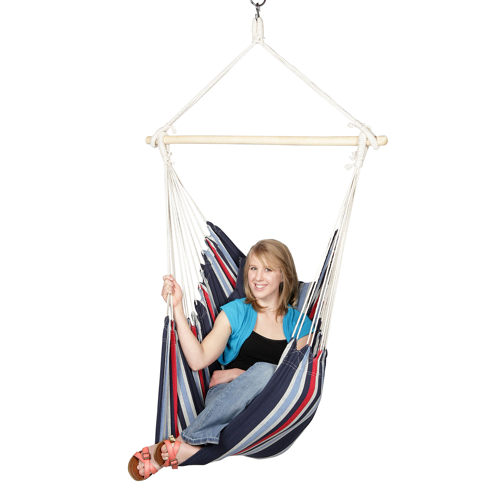 hanging sky chair leather office blue outdoor hammock with cushions and