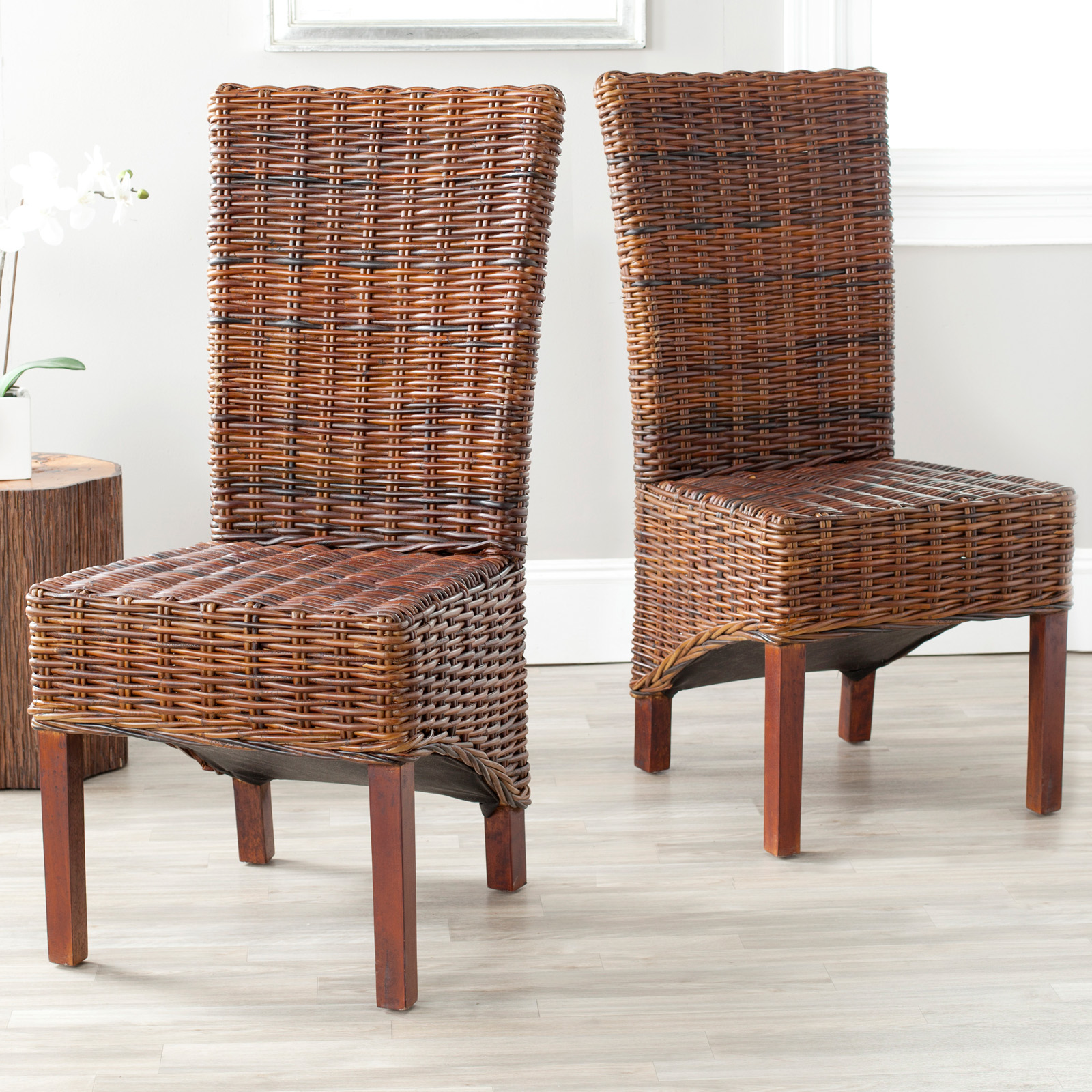 Cane Dining Chairs Safavieh Ridge Wicker Dining Side Chairs Set Of 2