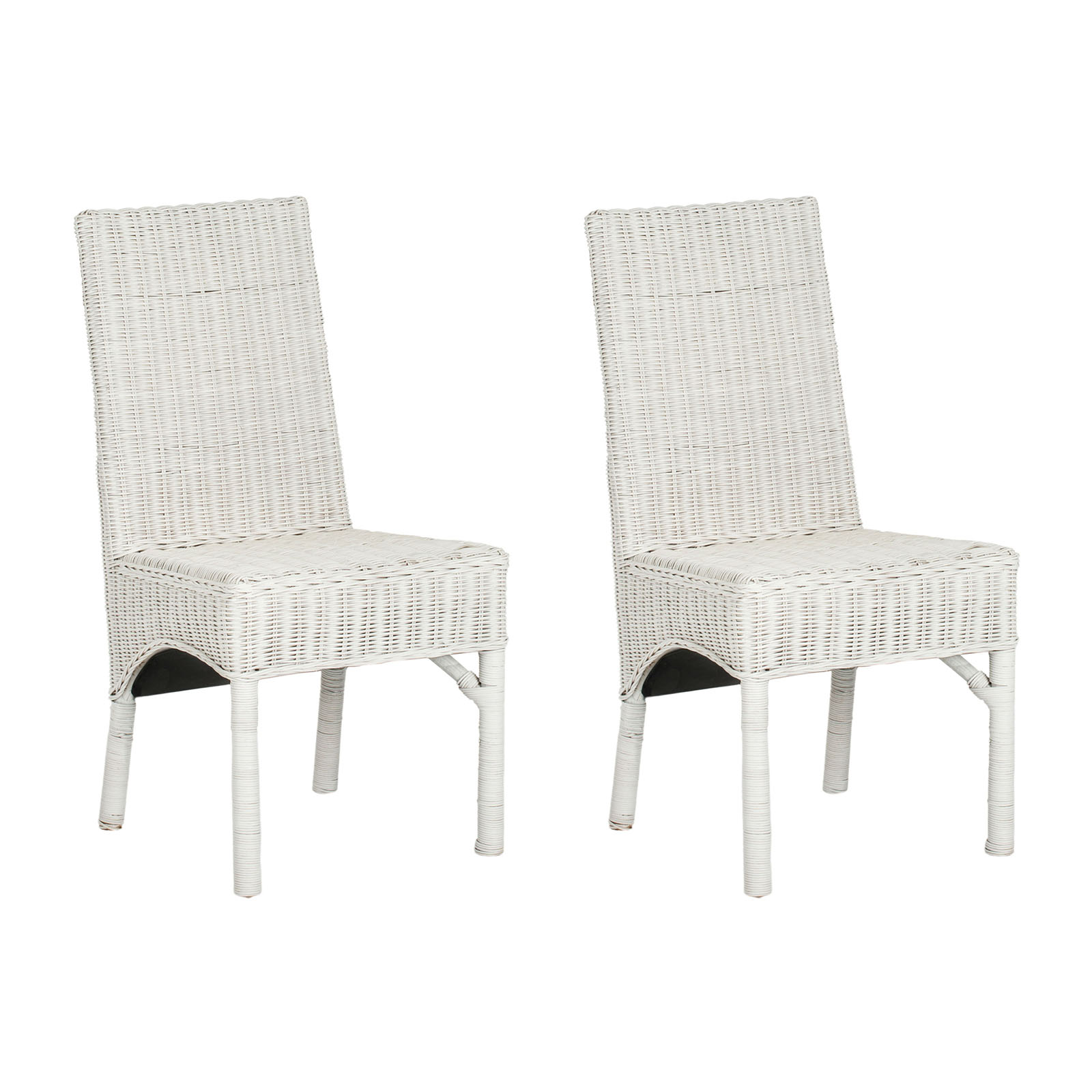 White Rattan Chair Safavieh Sommerset White Wicker Dining Side Chairs Set