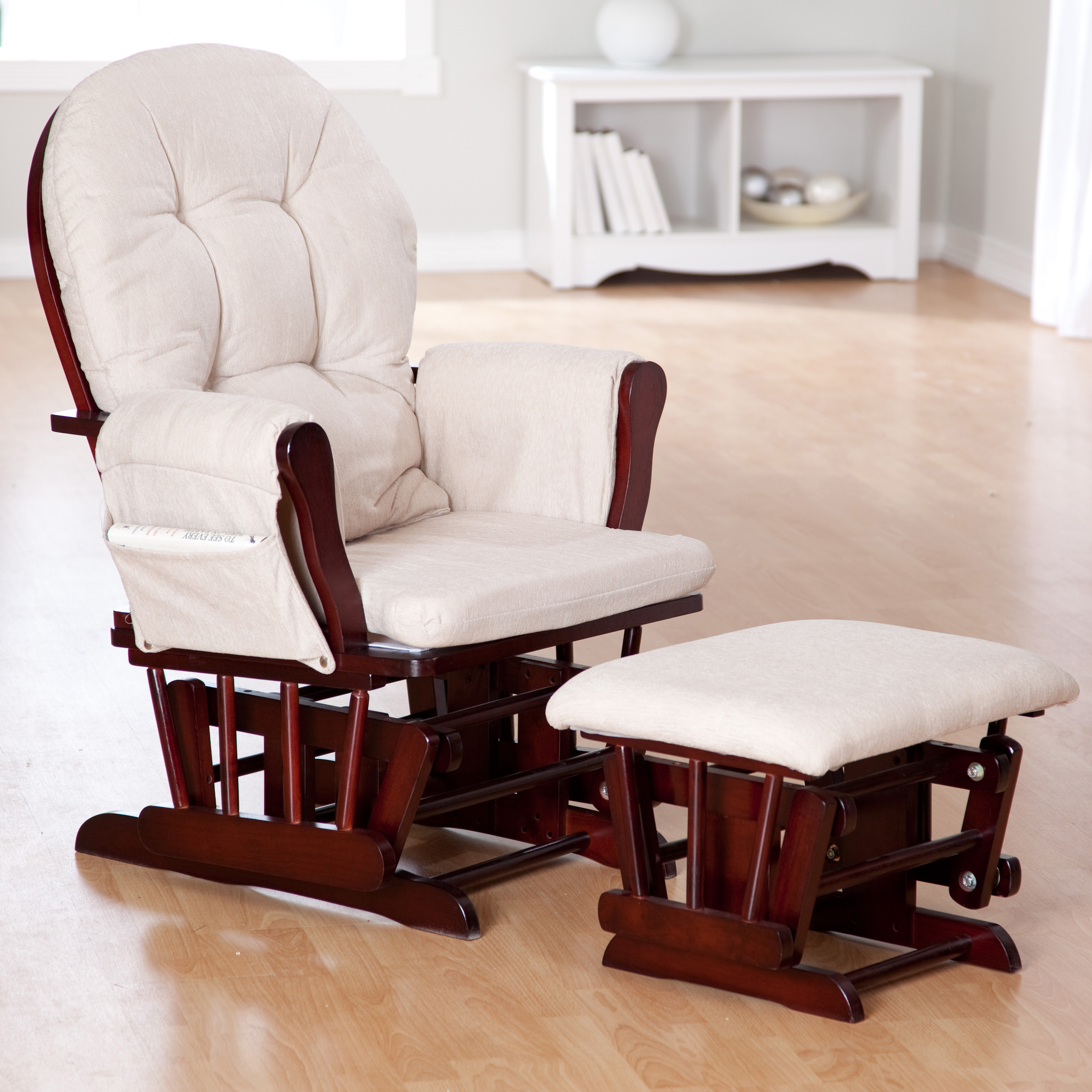 Gliding Rocking Chair Storkcraft Bowback Glider And Ottoman Set Cherry Beige