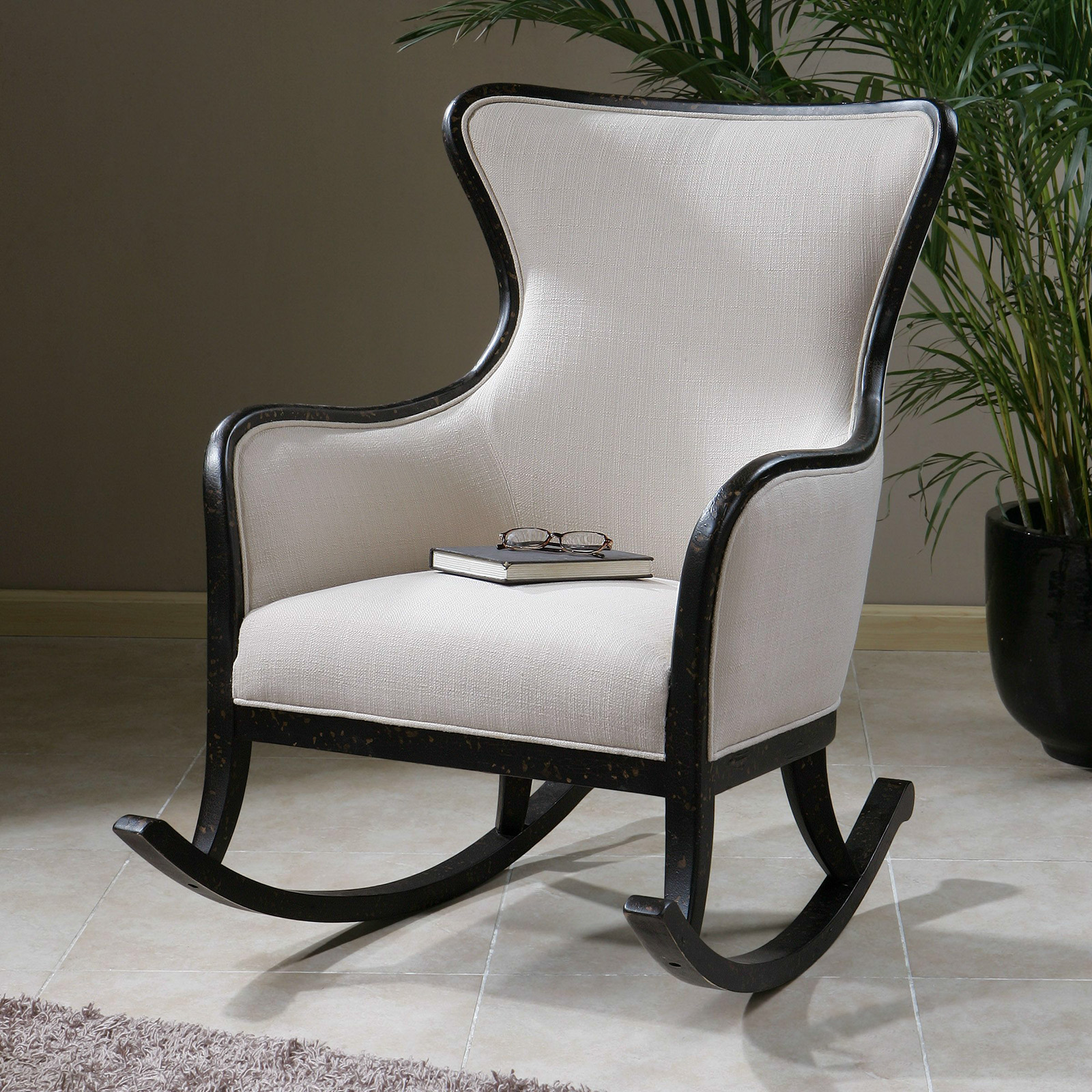 Modern Upholstered Rocking Chair Uttermost Sandy Rocking Chair - White - Indoor Rocking
