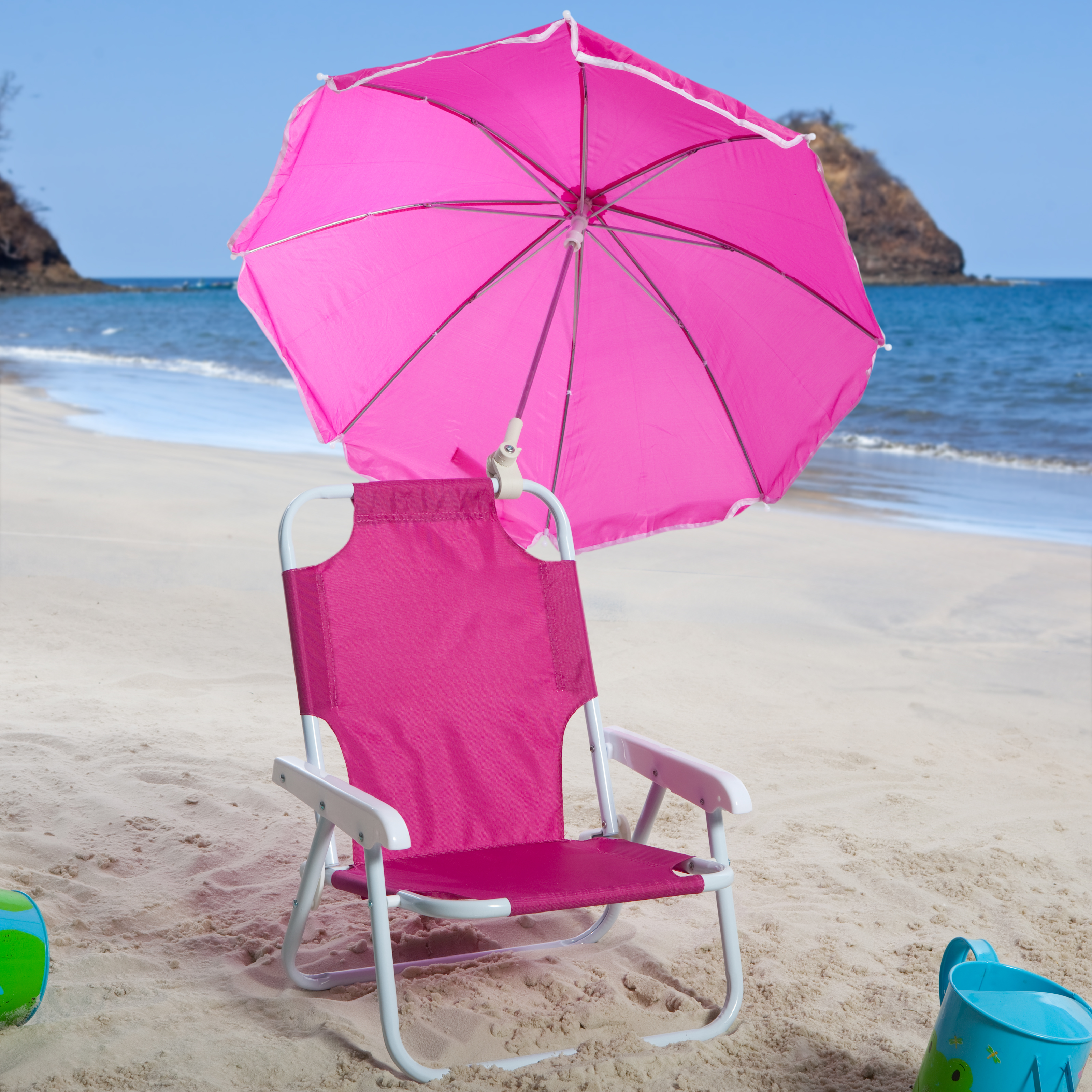 beach chairs for toddlers eiffel chair oak legs kids pink and umbrella outdoor at