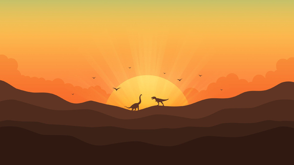 Dinosaur Minimal Morning 4k, HD Artist, 4k Wallpapers