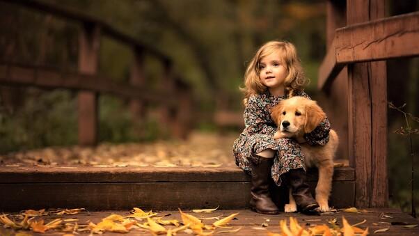 Desktop Wallpaper Of Cute Puppies Little Girl With Golden Retriever Puppy Hd Cute 4k