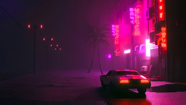 Chill Wave Car Wallpaper Synthwave Car On Street Hd Artist 4k Wallpapers Images