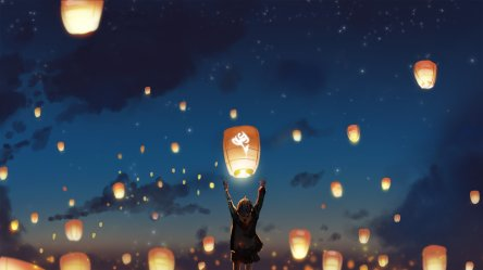 2048x1152 Lantern Night Clouds Lights Anime Stars 2048x1152 Resolution HD 4k Wallpapers Images Backgrounds Photos and Pictures