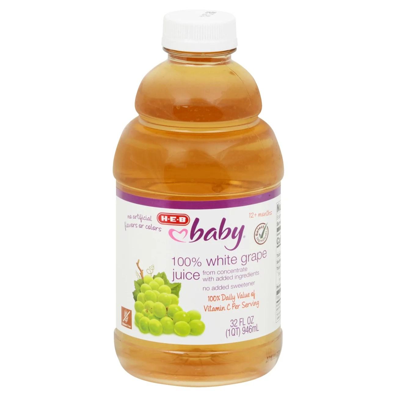 H-E-B Baby 100% White Grape Juice - Shop Juice & Water at ...