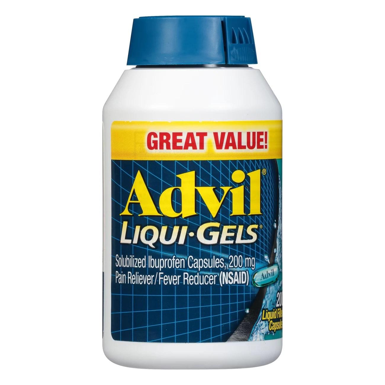 Advil Liqui-Gels Temporary Pain Relief Ibuprofen Liquid ...