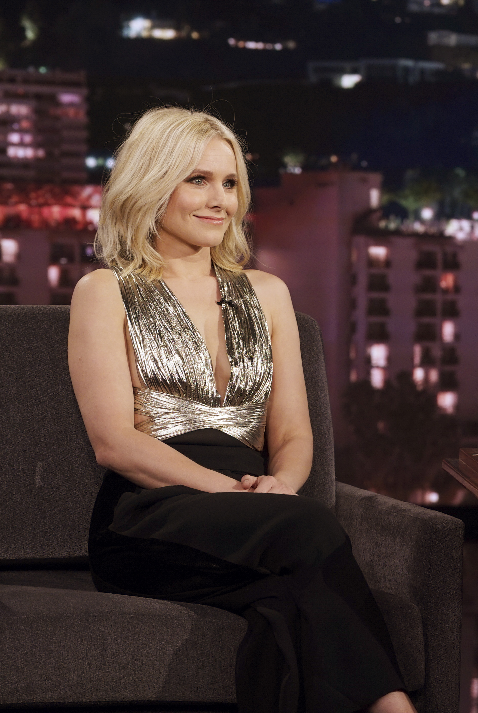 Kristen Bell looks like a disco queen in this metallic outfit  HelloGiggles