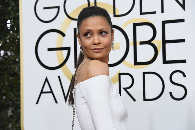 Thandie Newton's Golden Globes dress is dipped in glitter flames
