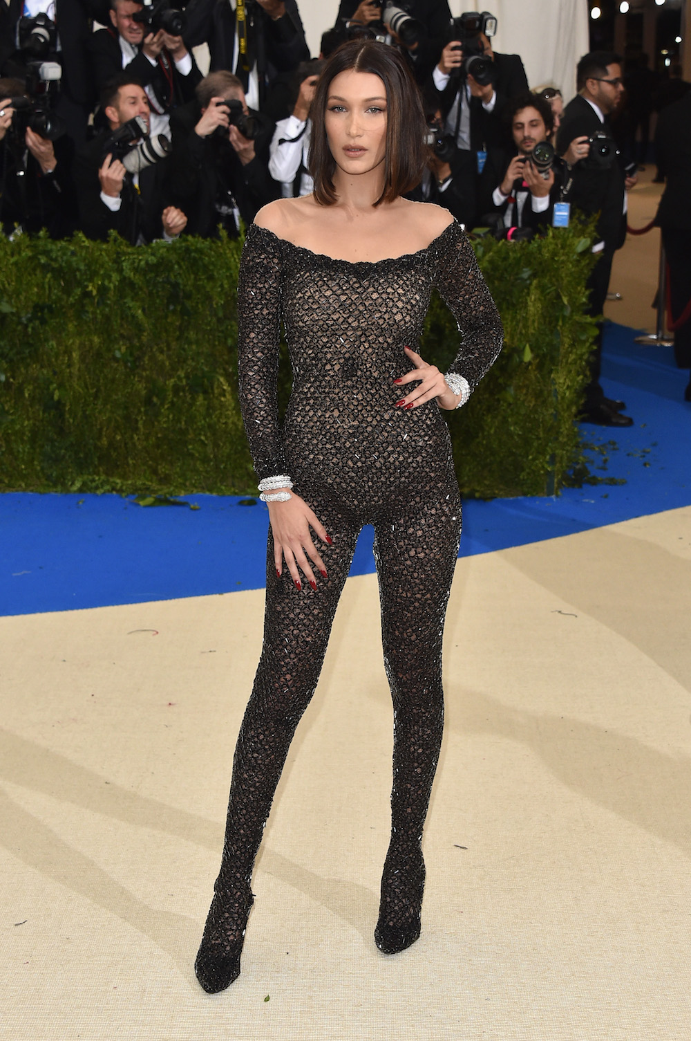 Bella Hadid just wore a gothic nudeillusion onesie to the