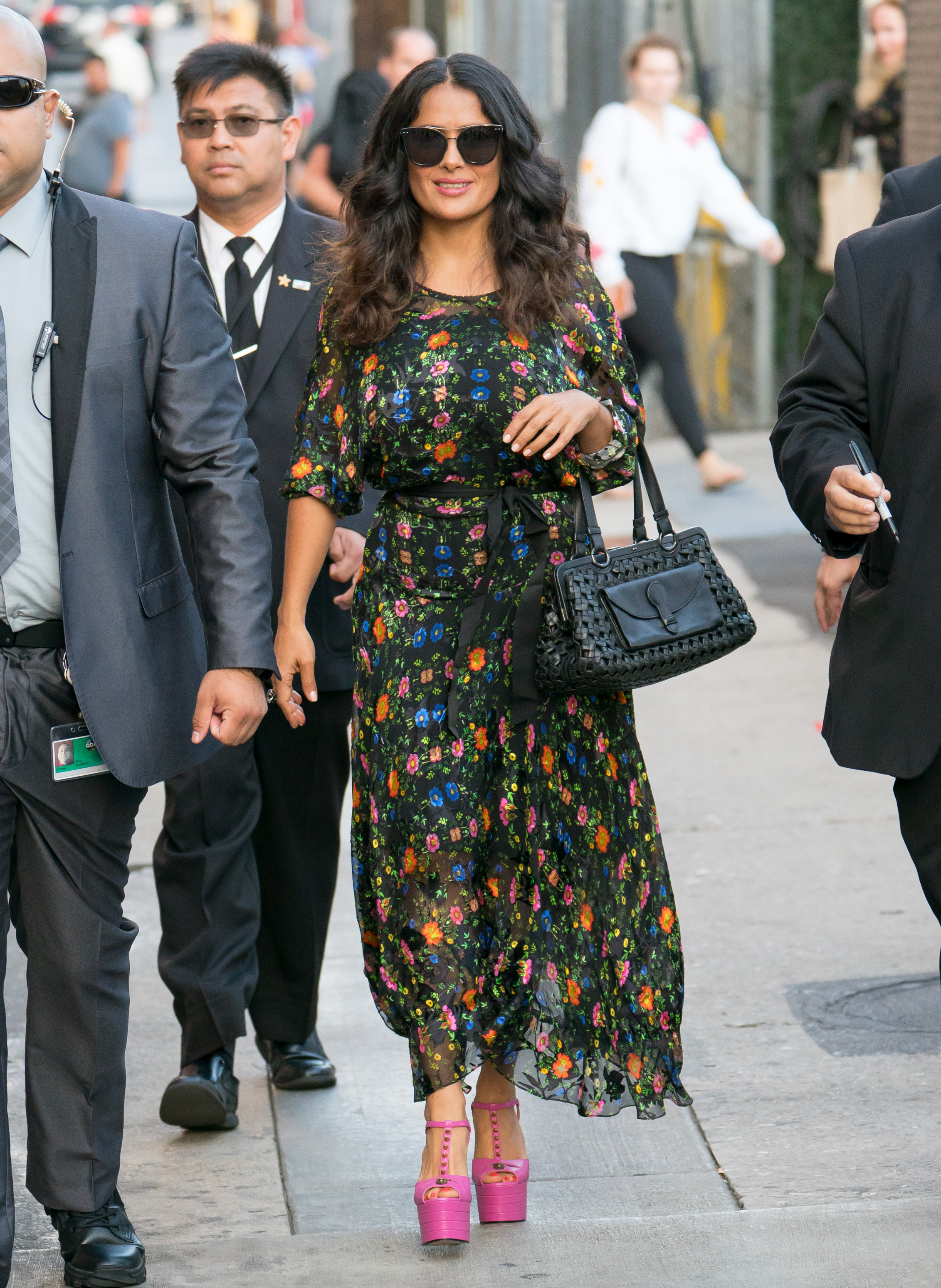 Salma Hayeks Studded Barbie Pink Heels Might Be Our New