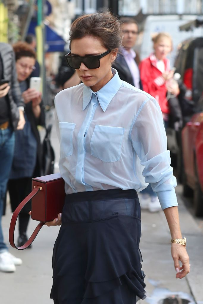 Victoria Beckham took the sheer shirt trend and literally made it her own  HelloGiggles