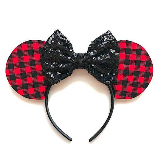 Picture of Christmas Minnie Mouse Ears Buffalo Check