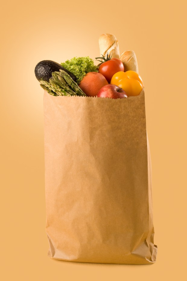Grocery bag filled with produce