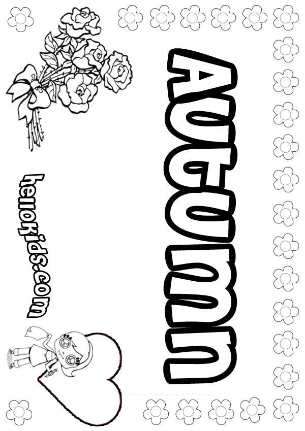 girls name coloring pages, Autumn girly name to color