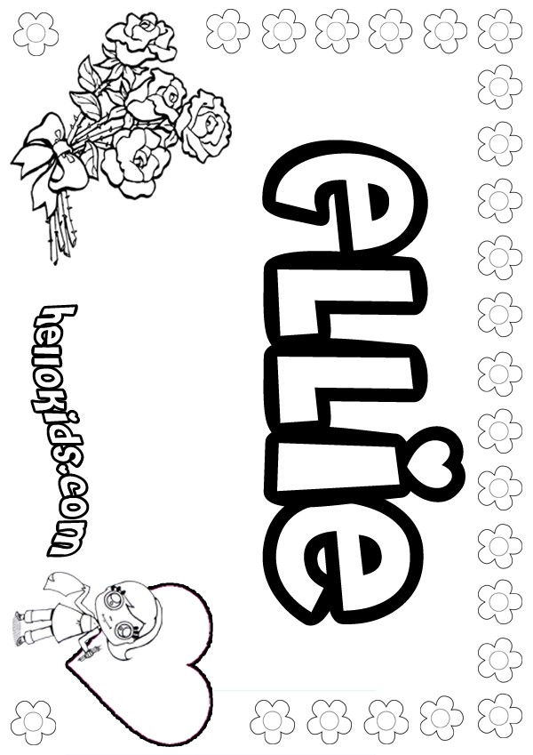 girls name coloring pages, Ellie girly name to color