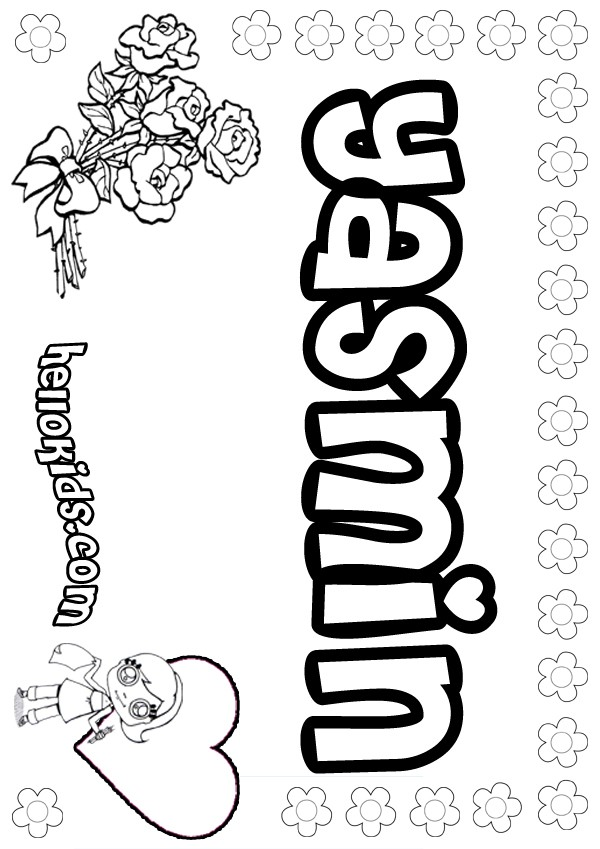 Girls Name Coloring Pages Yasmin Girly Name To Color