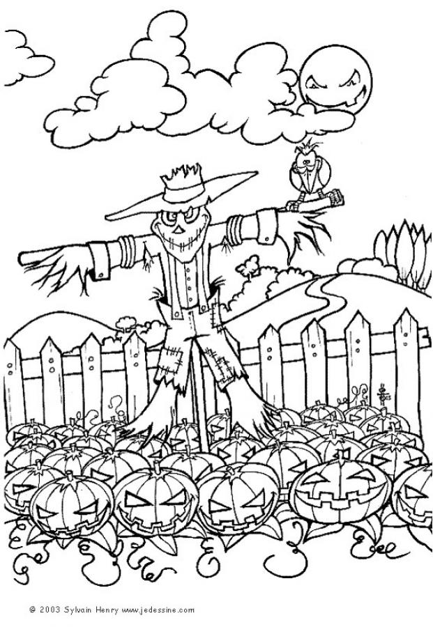 Scarecrow Coloring Pages Scarecrow In Pumpkin Patch