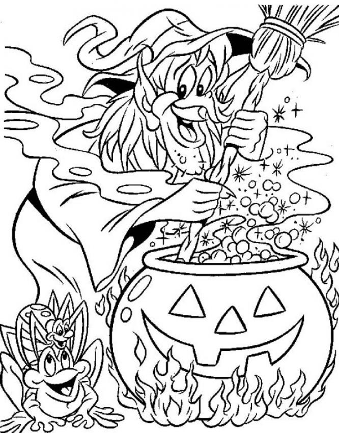 Sorceress prepares a cursed potion coloring pages