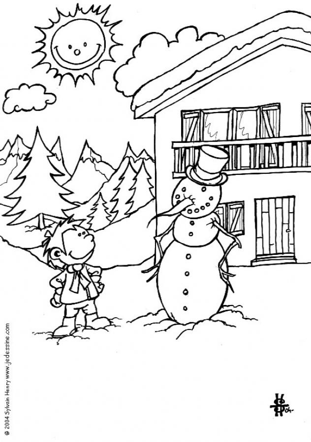 Snowman in front of the mountain chalet coloring pages