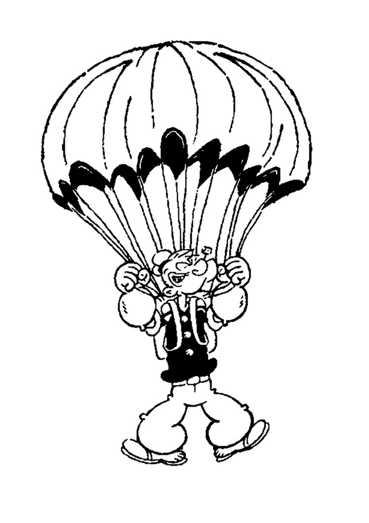 Popeye the sailor with parachute coloring pages