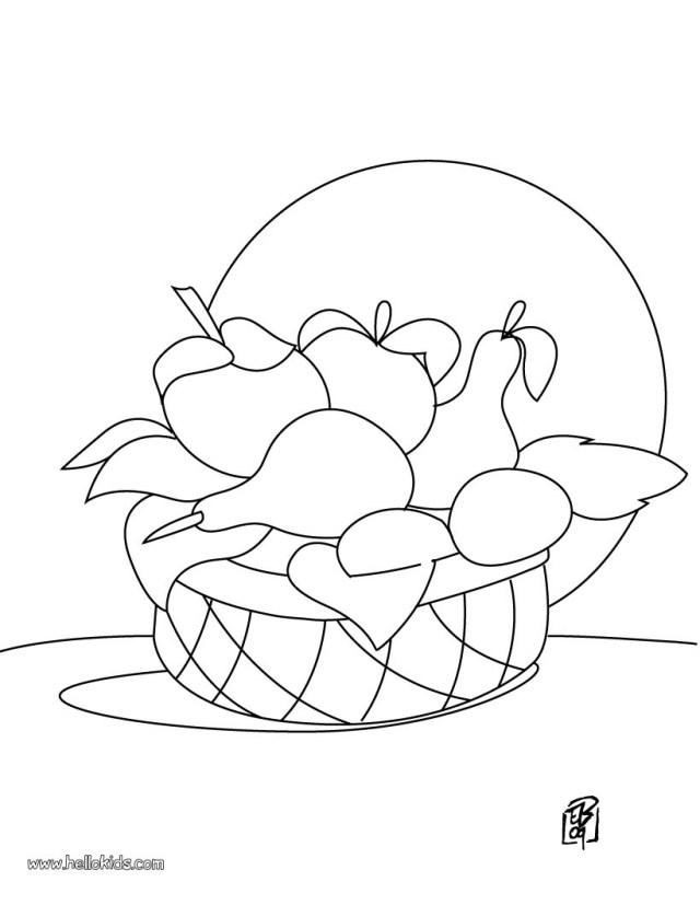 Fruit basket coloring pages - Hellokids.com