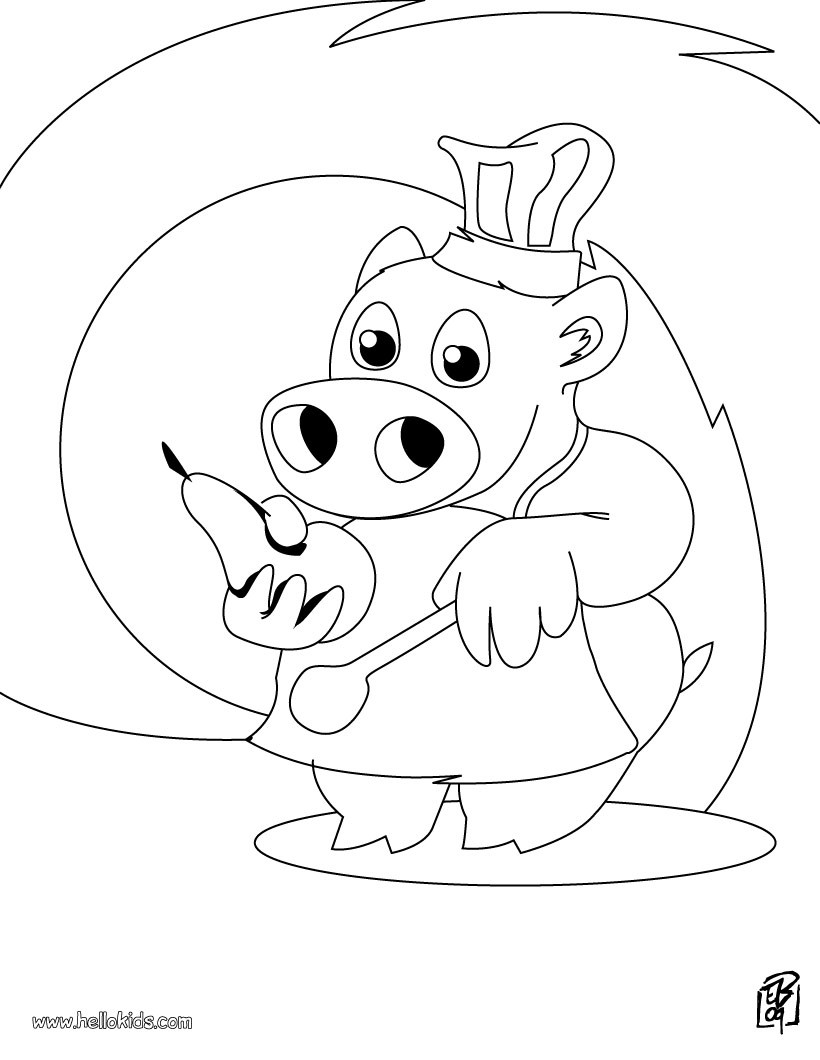 pig the little chef coloring pages  hellokids